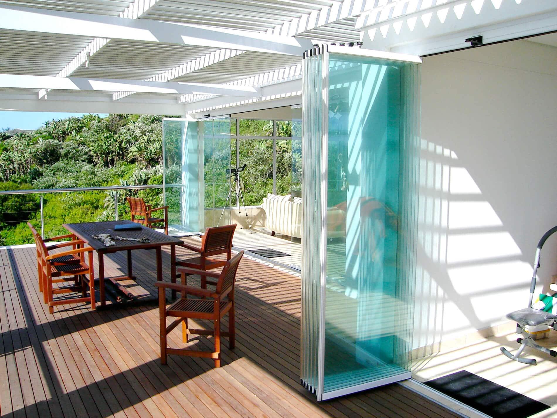 Glas Schiebe-Drehtüren Terrasse