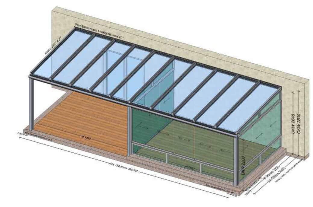 Glas Terrassenüberdachung mit Sommergarten - Planung