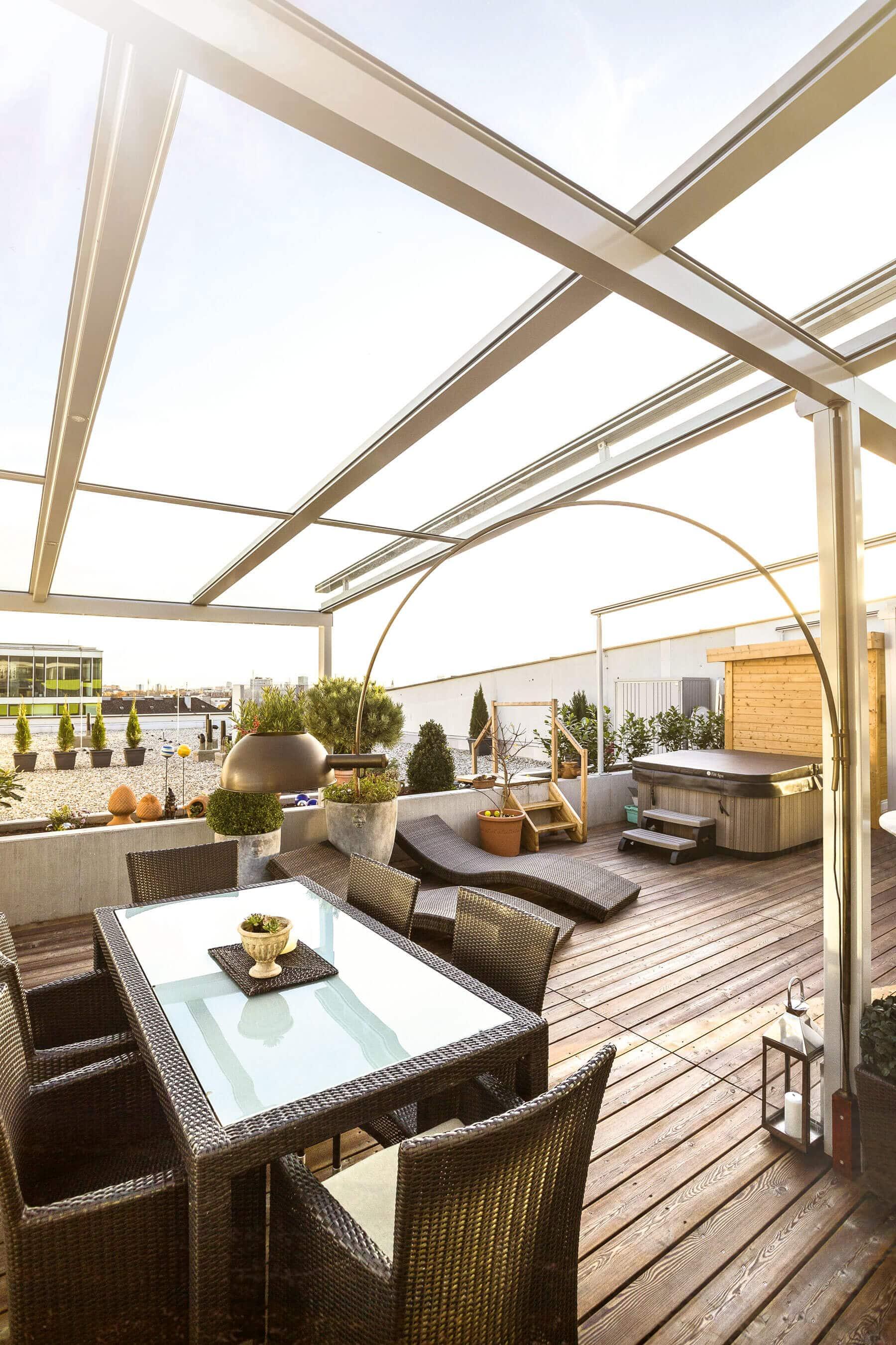 Glasdach für Dachterrasse