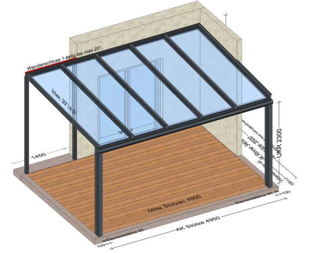 Glasdach Terrasse Alu