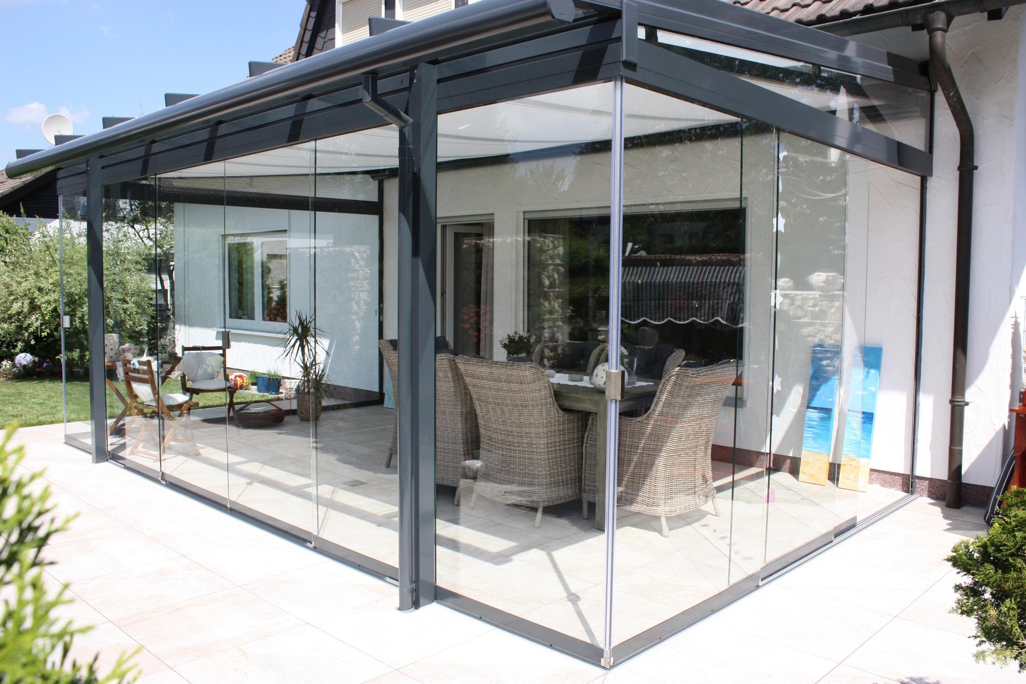 Glasdach Terrasse mit Seitenwänden