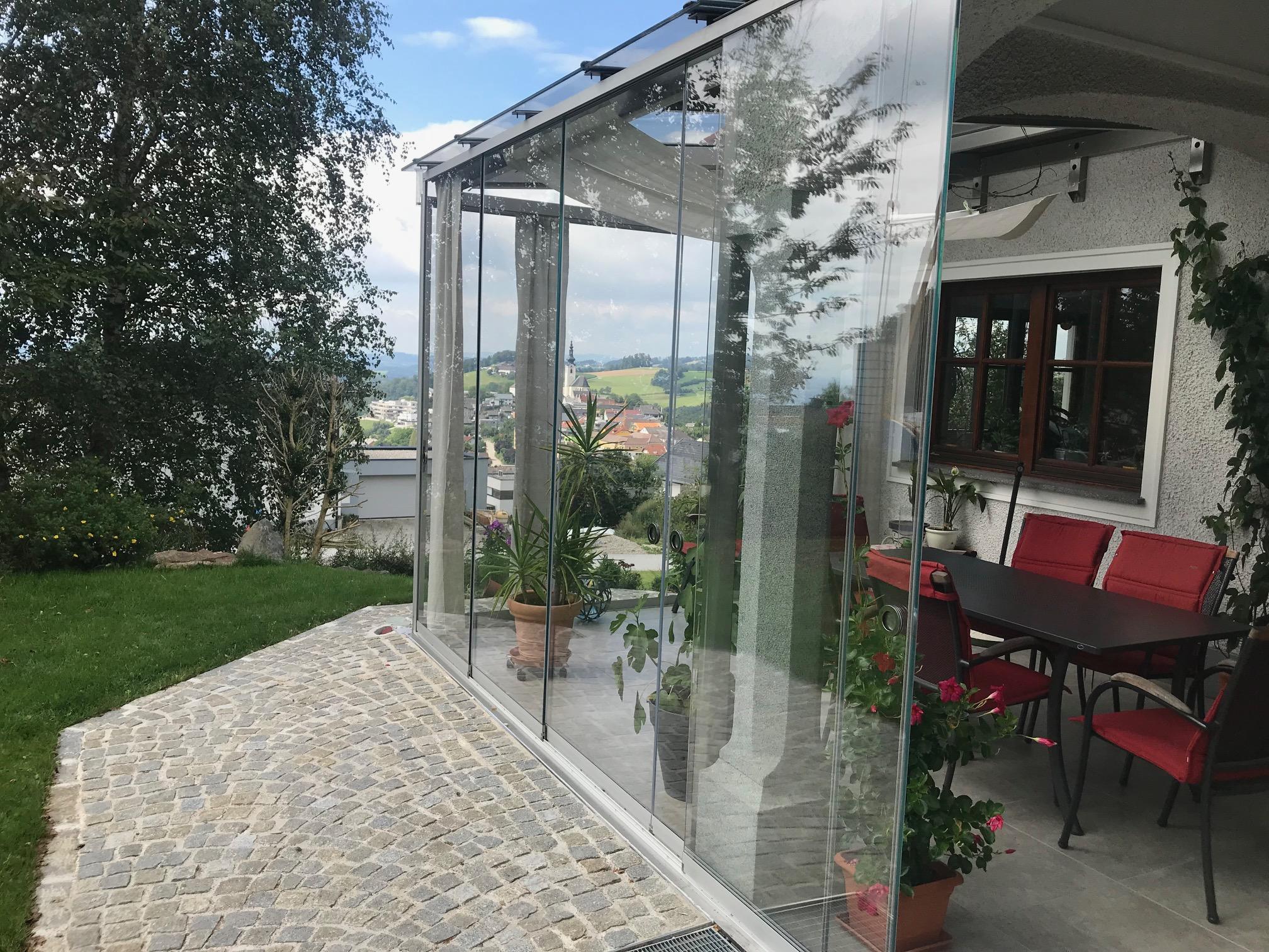 Glasschiebeelemente für Sommergarten in Gramastetten OÖ