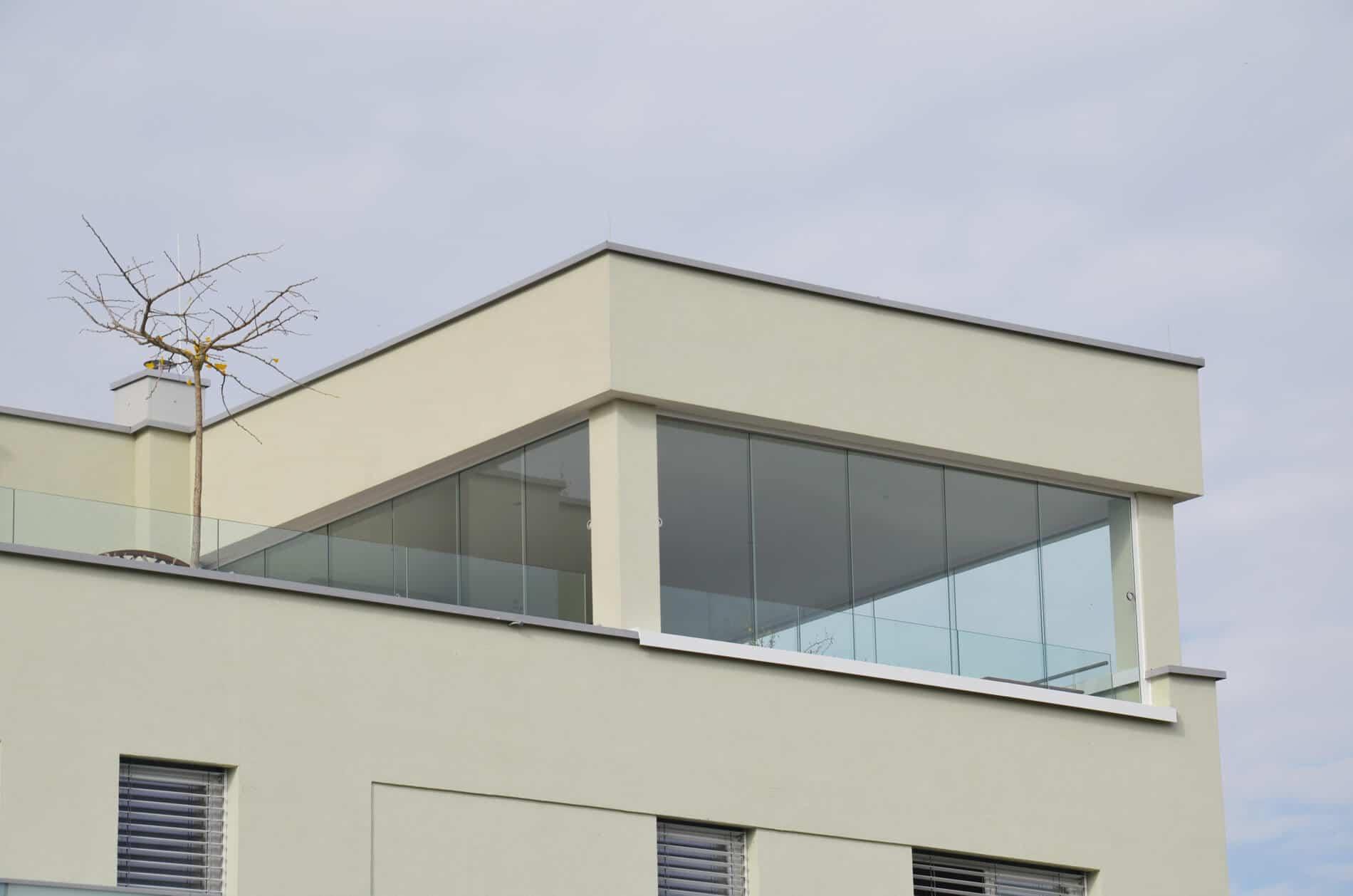 Glasschiebetüren außen rahmenlos für Dachterrasse
