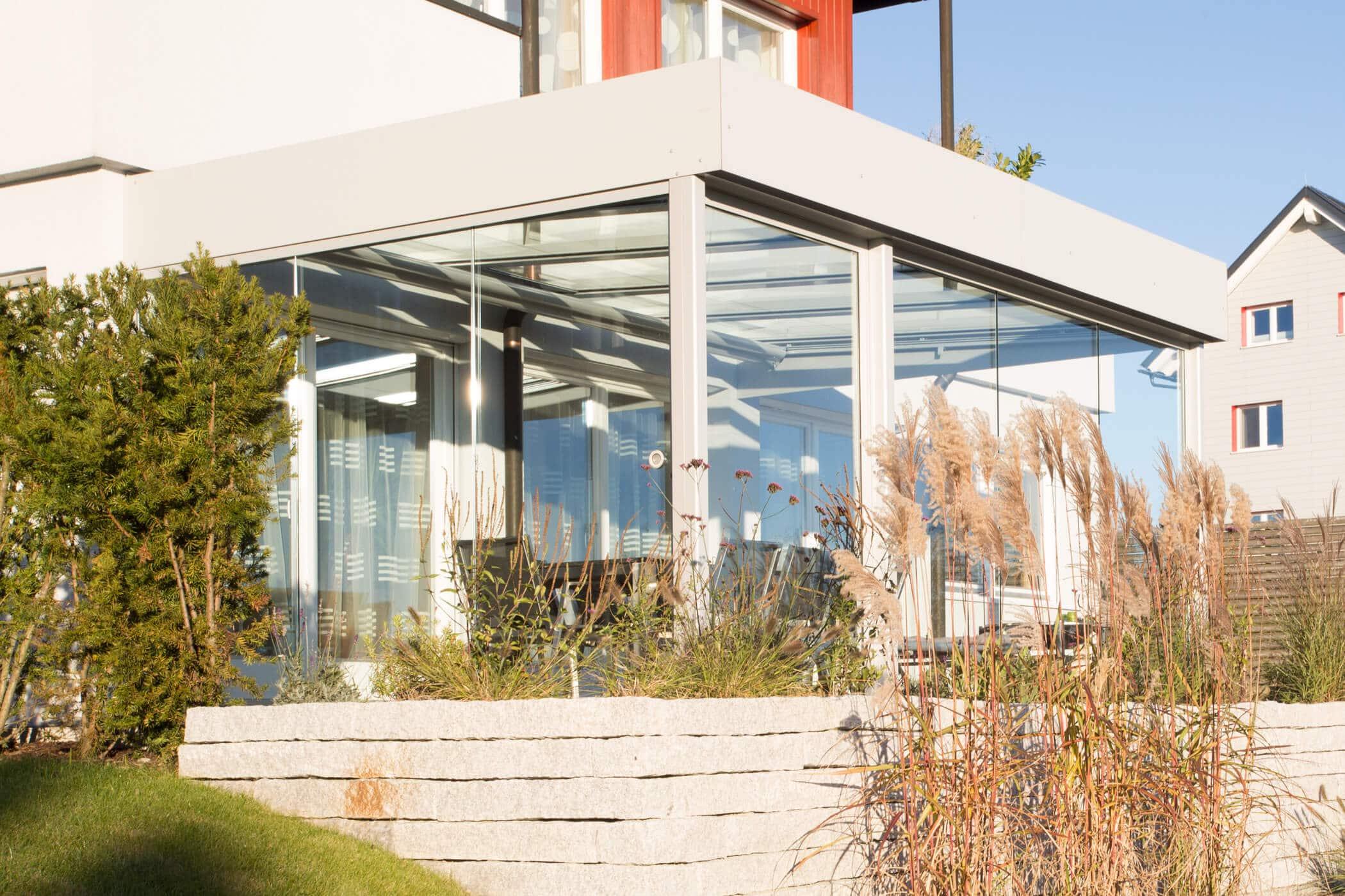 Glasschiebetüren zum Abschließen für Sommergarten