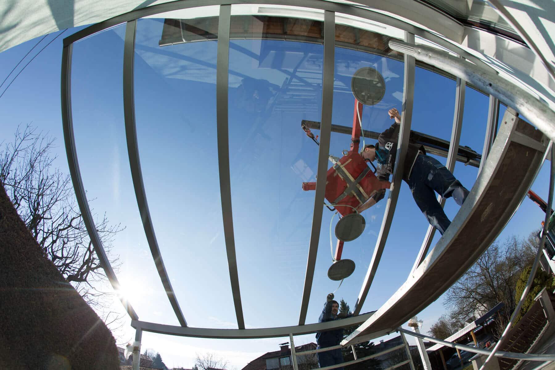 Glasüberdachung Kran-Montage