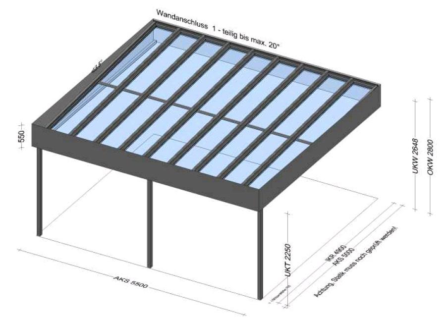 Glasüberdachung mit Attika - Planung für BV in Linz/OÖ