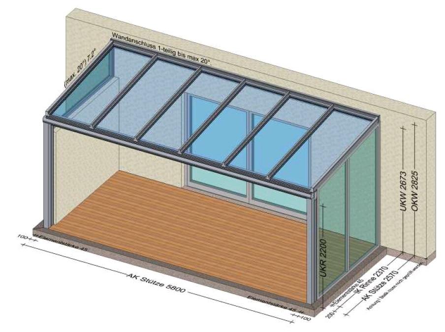Glasüberdachung mit einer Seitenwand Festfeld