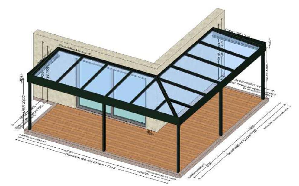 Glasüberdachung mit Flachdach