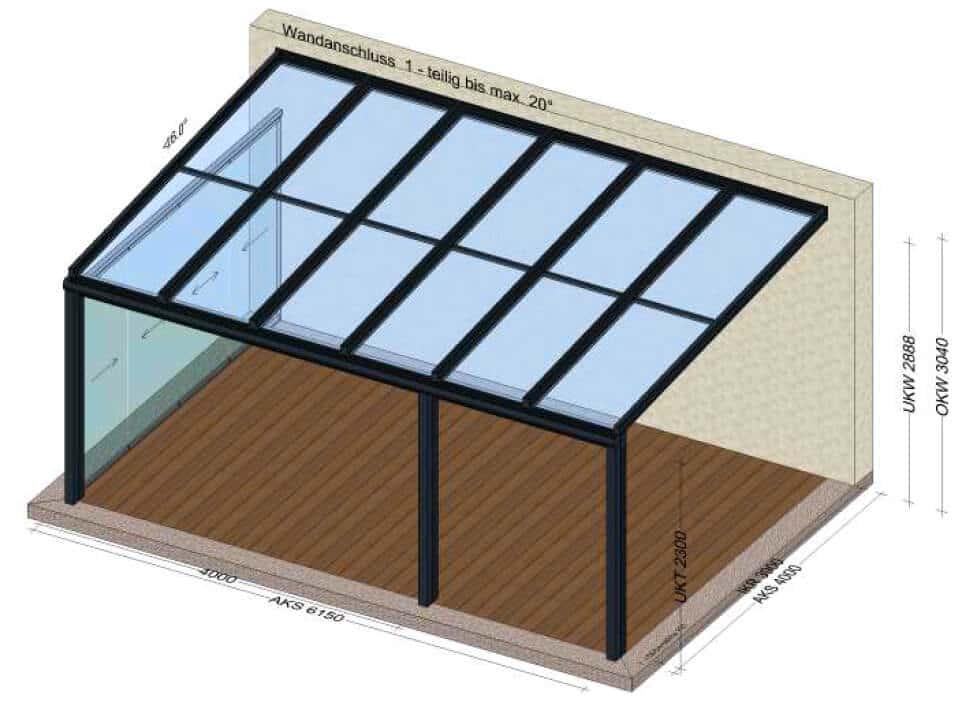 Glasüberdachung seitlich verglast