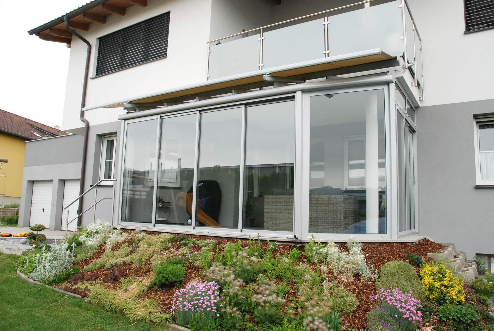 Glasverbau auf Terrasse