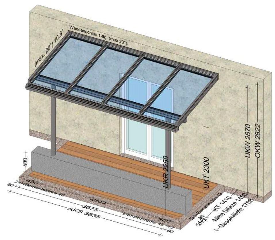 Glasvordach Überdachung ca. 4x2 Meter