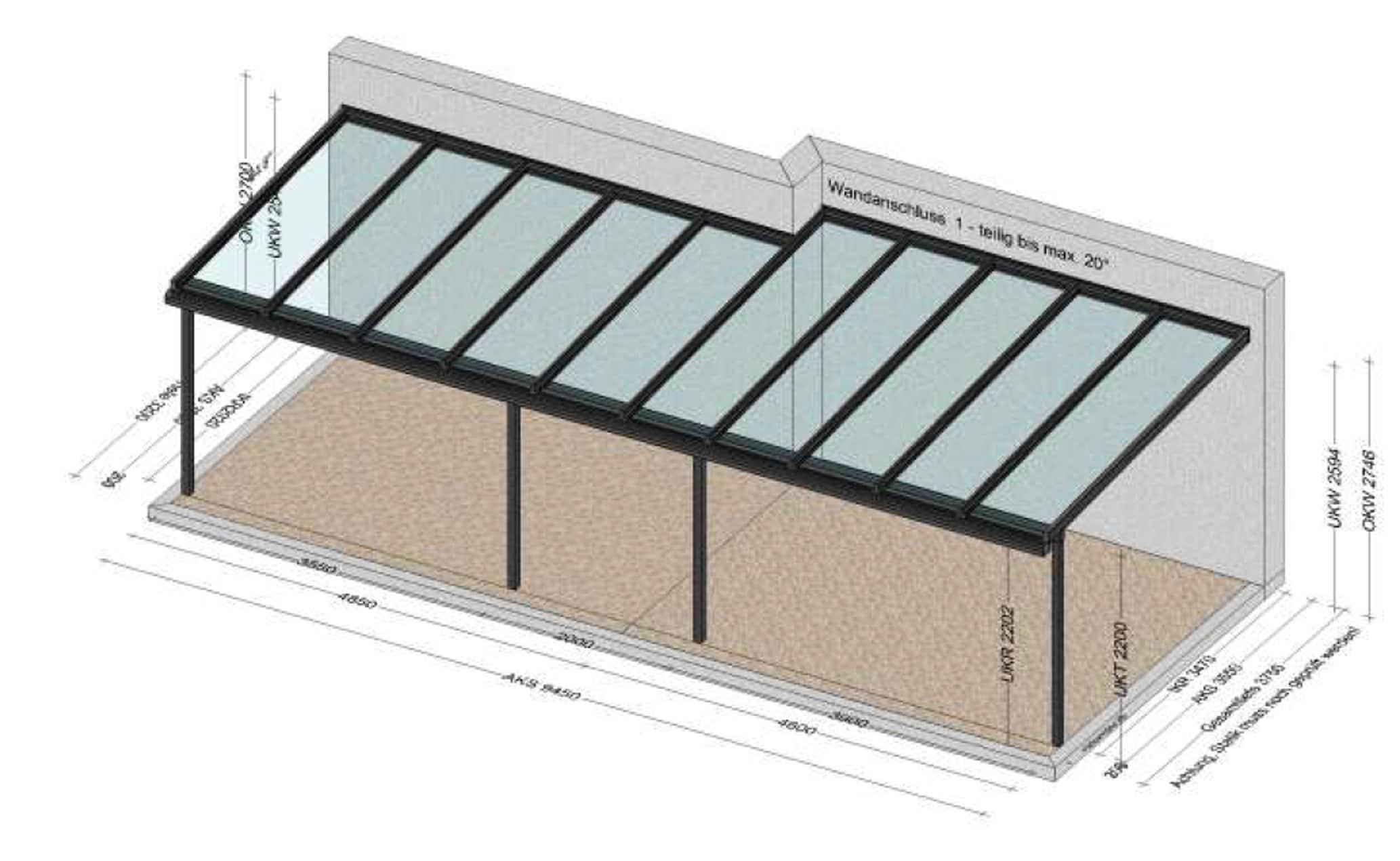 Große Terrassenüberdachung - Planung BV Steyr OÖ