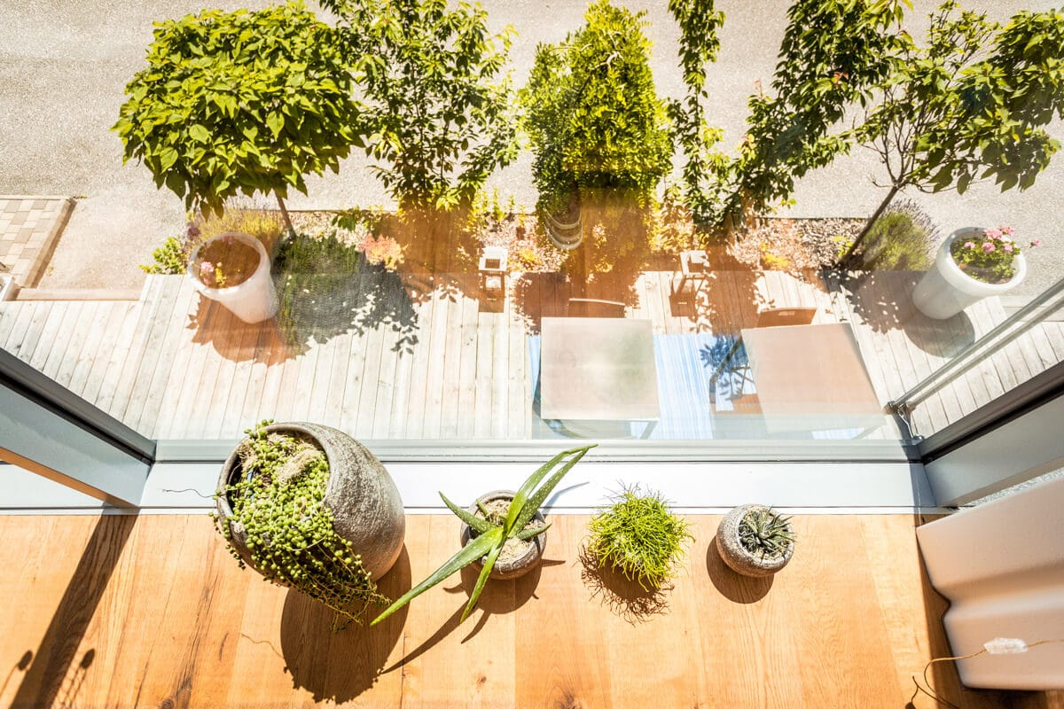 Große Verglasung Terrasse