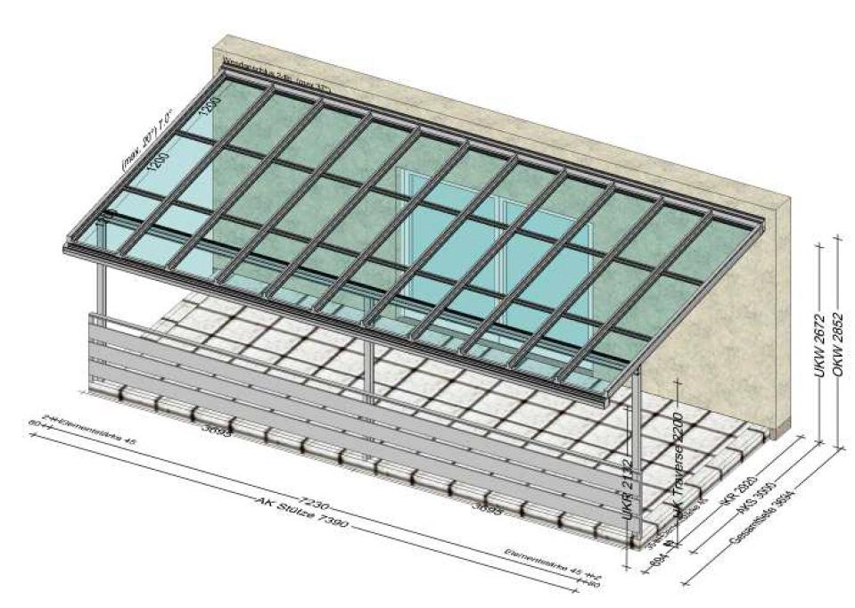 Großflächige Glasüberdachung in Steyr OÖ