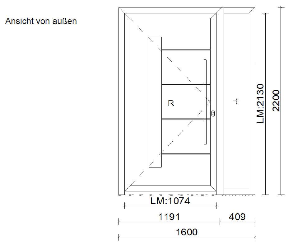 Haustüre mit Seitenteil rechts