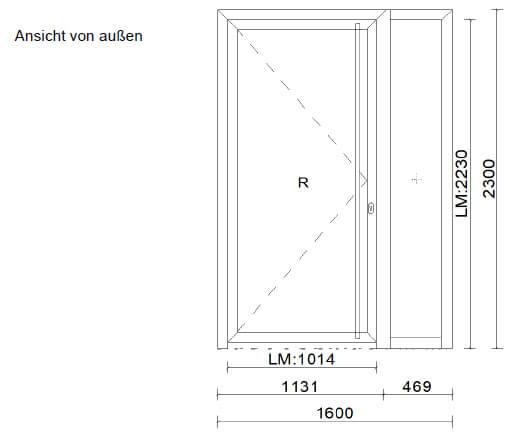 Haustüre mit Seitenteil - Aluminium Skizze
