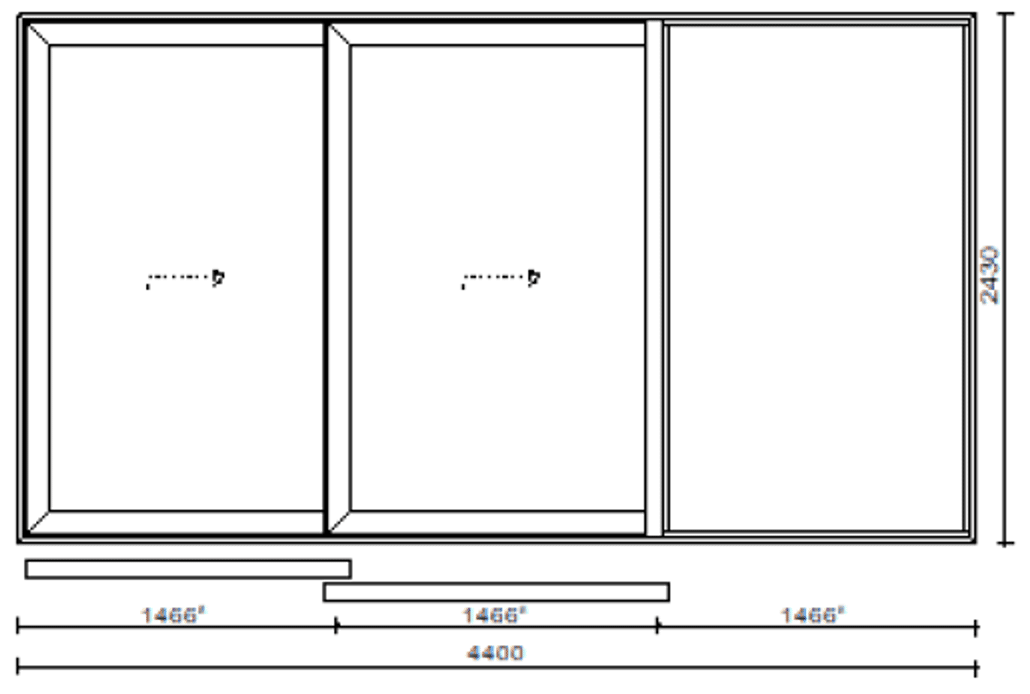 Hebeschiebetür Aluminium mit 2 Flügel und 1 Fixteil - Preis / Planungsskizze