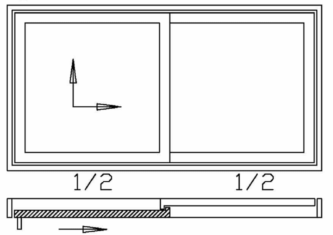 Hebeschiebetüre 2-teilig - 1x Schiebeflügel 1x Festverglasung