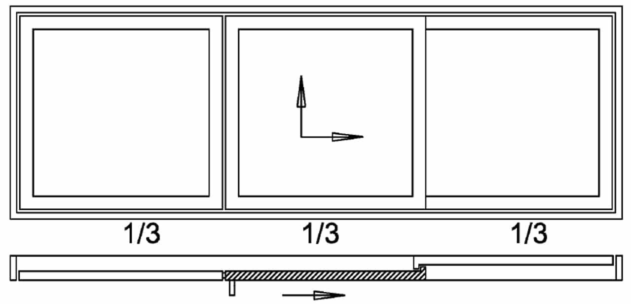 Hebeschiebetüre 3-teilig - 1x Schiebeflügel - 2x Festverglasung