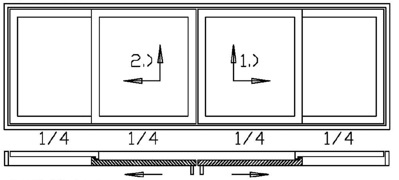 Hebeschiebetüre 4-teilig - 2x Schiebeflügel 2x Festverglasung