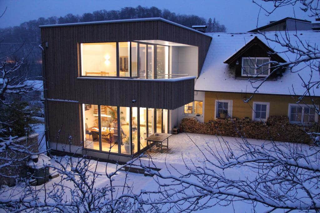 Holz Alu Fenster Fichte + RAL 9006