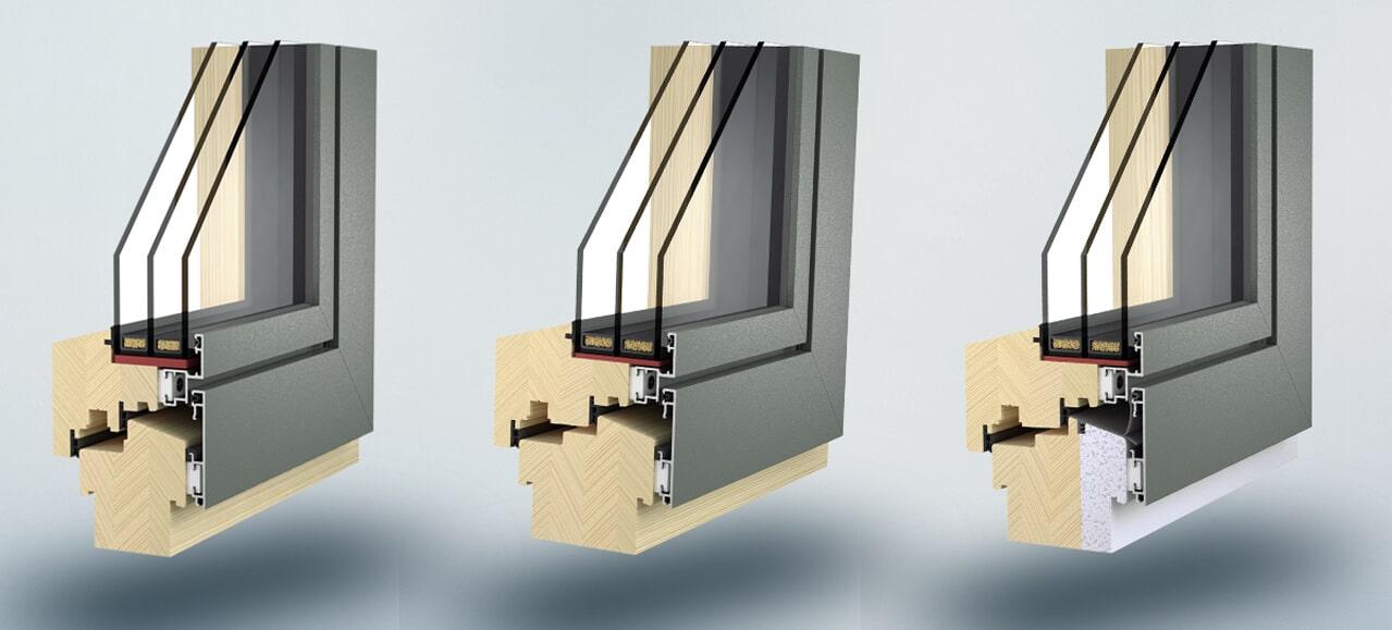 Holz-Alu-Fenster planflächig von Waku