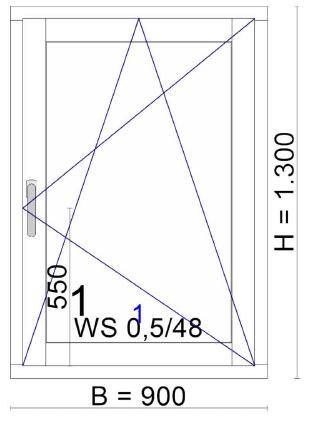 Holz-Aluminium-Fenster 1-flügelig 90x130