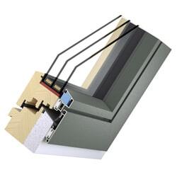 Holz-Aluminium Fenster plan innen - Passivhaus-System Flat