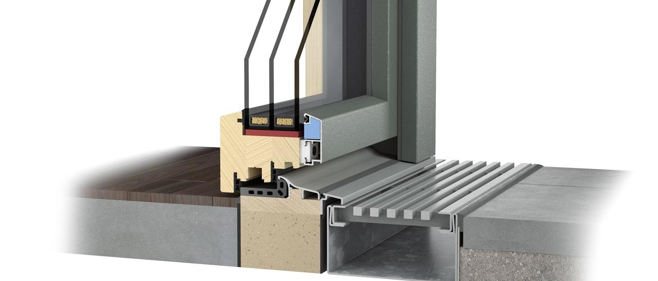 Holz-Aluminium Terrassentüre mit Bodenschwelle