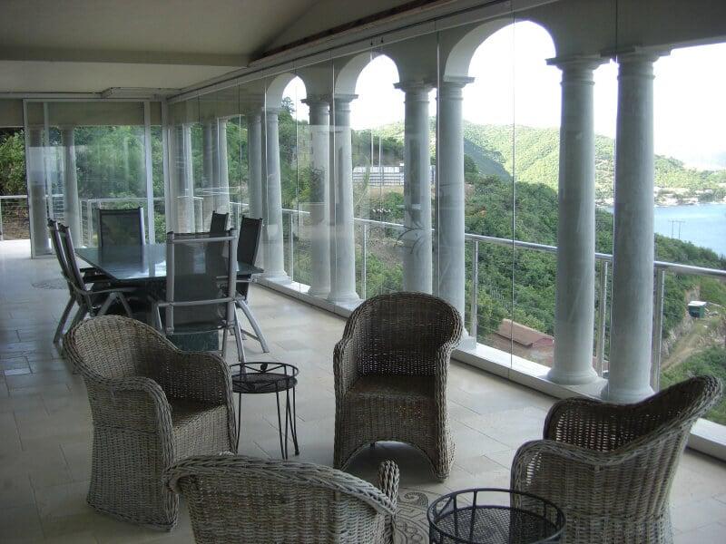 Horizontal-Schiebe-Wände - Windschutz Terrasse