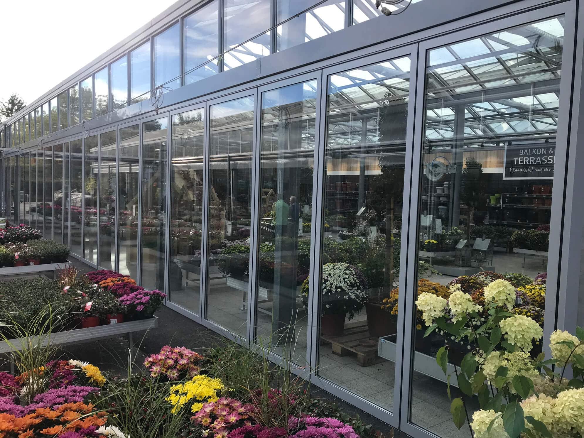 Horizontal-Schiebe-Wand System für Gartencenter in Leonding OÖ