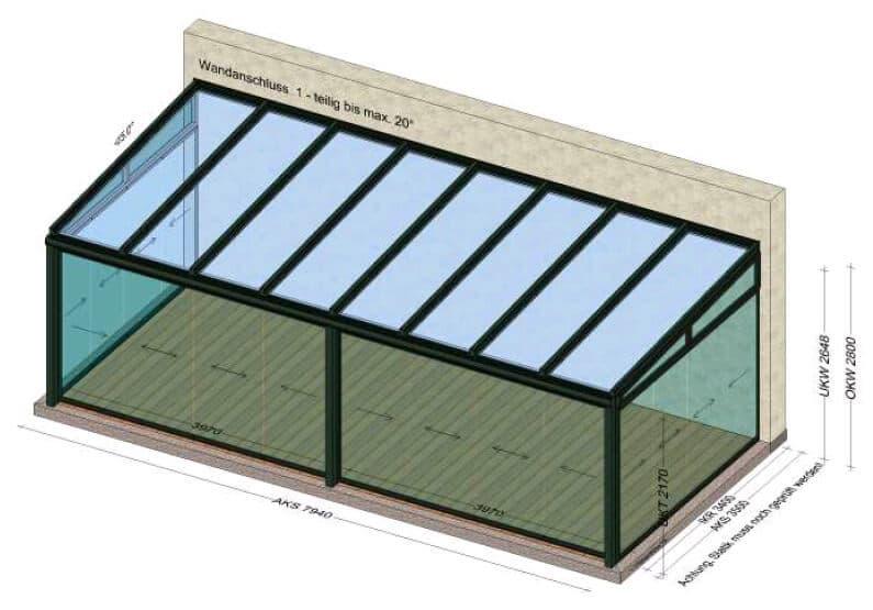Kaltwintergarten 8x3,5 - Planung