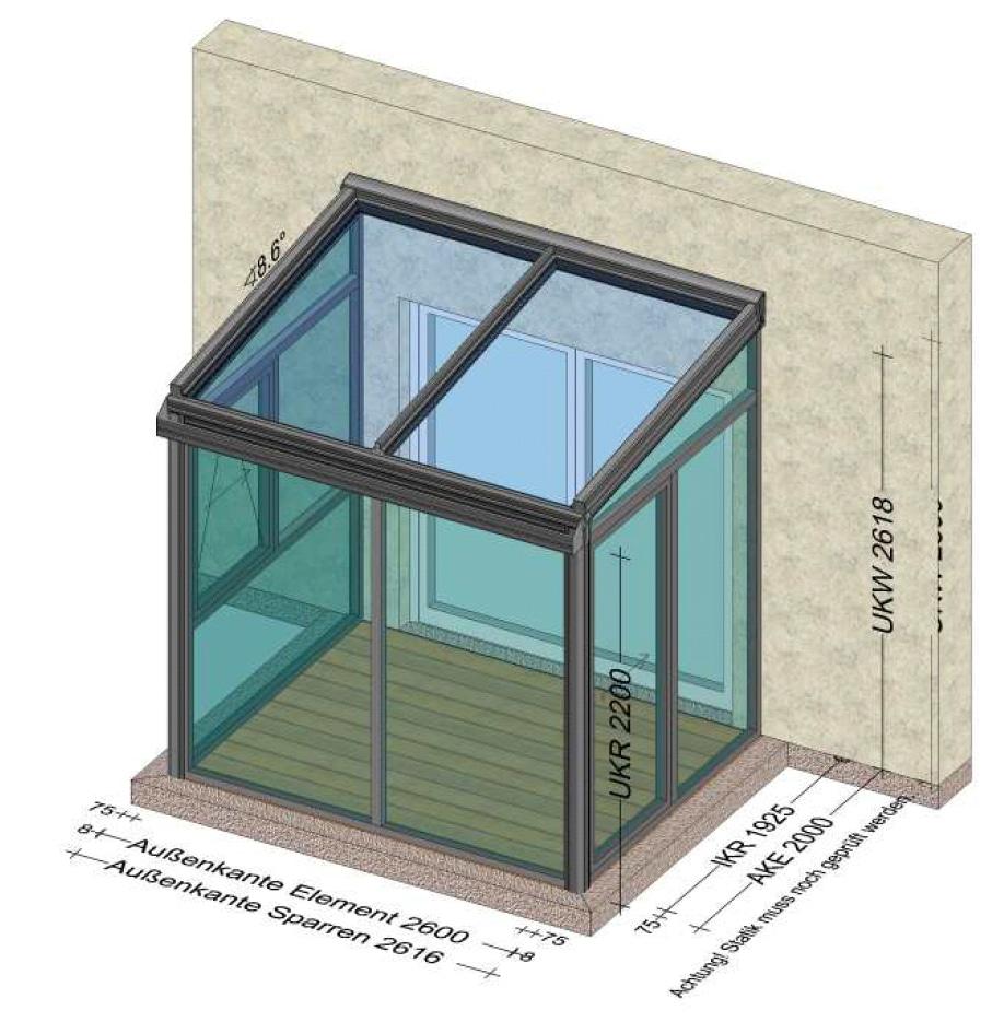 Kleine Anbauten aus Glas