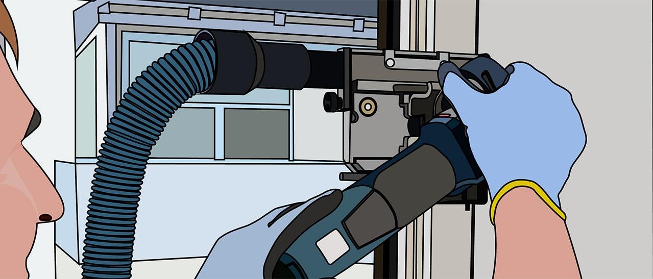 Lamello Säge entfernen der alten Fensterrahmen