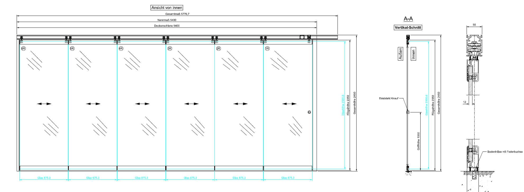 Mehrteilige Sunflex SF 55 Horizontal-Schiebe-Wand-Skizze