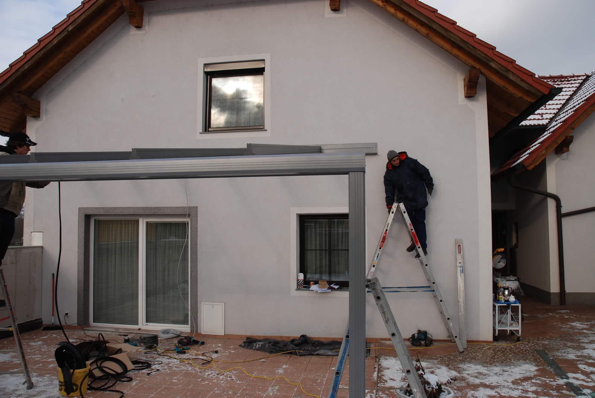 Montage Glasüberdachung Aluminium