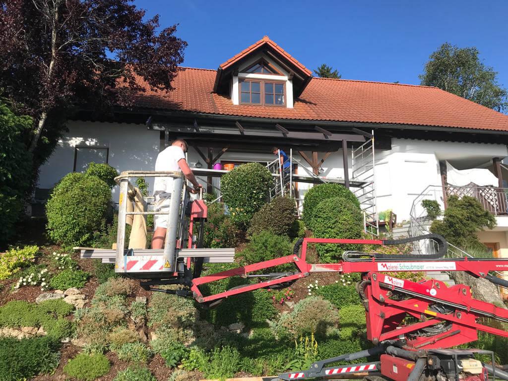 Montage Terrassendach mit Steiger in Oberösterreich