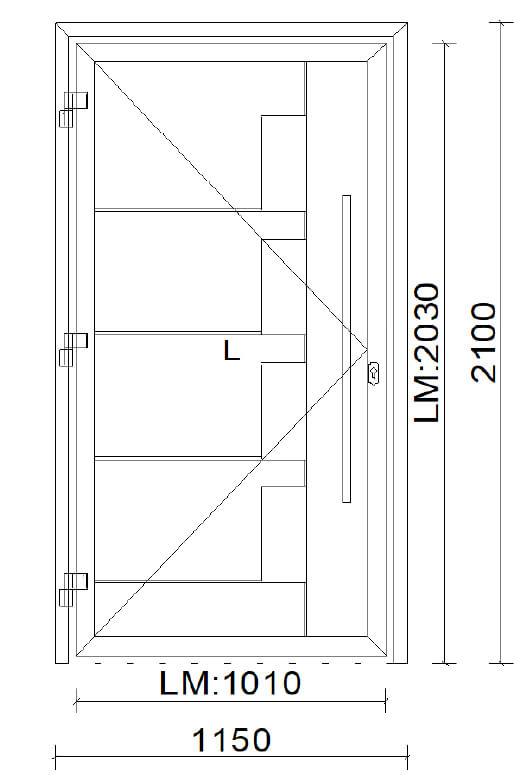 Planungs-Beispiel Alu-Türe mit Füllungsmodell und Griffstange in Edelstahl - Maß: 1150 x 2100 mm