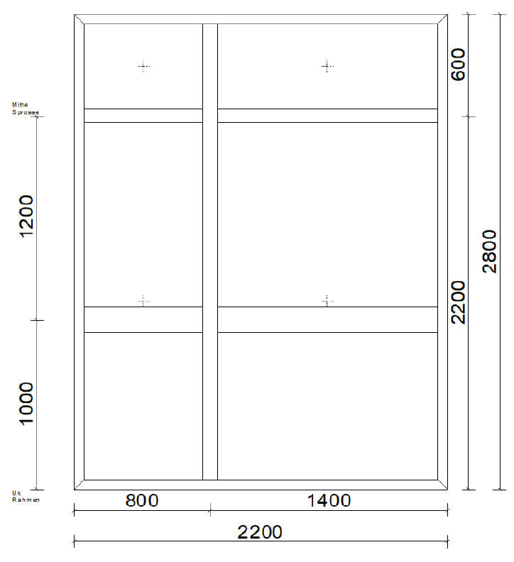 Planungsbeispiel Skizze Windschutz mit Aluprofilen flixverglast mit Glas - Maß: 2200 x 2800 mm