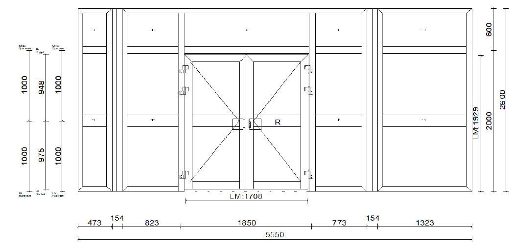 Planungsbeispiel Eingangsportal Sonderkonstruktion Mehrteilig mit Sicherheitsgläsern