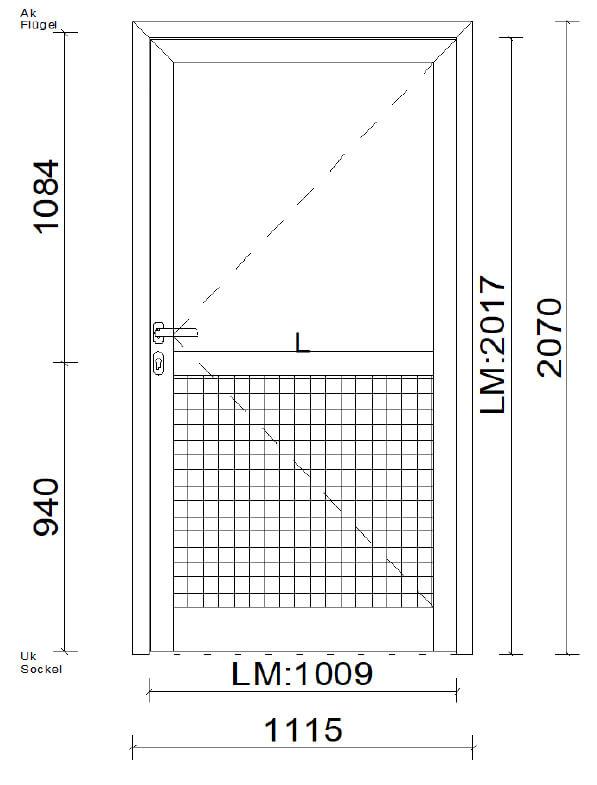 Planungsbeispiel Nebeneingangstüre Alu unten mit Alupaneele oben mit Glas