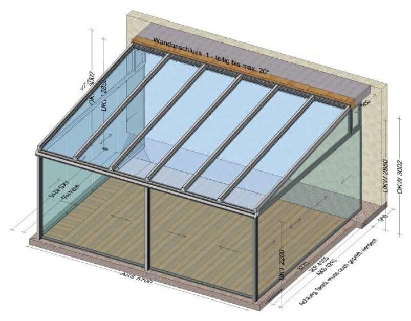 Planungsbeispiel Sommergarten aus Aluminium mit Dachverglasung und seitlichen Glasschiebetüren ohne Rahmen - Maß: 5700 x 4200 mm