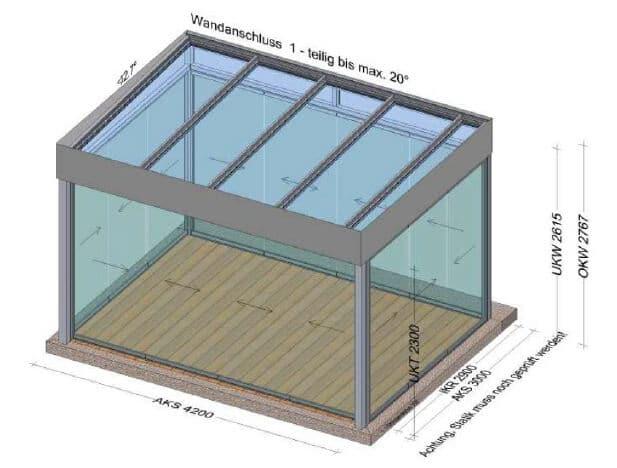 Planungsbeispiel Sommergarten mit Glasschiebewänden Dachverglasung und Flachdachoptik 4200 x 3000 mm