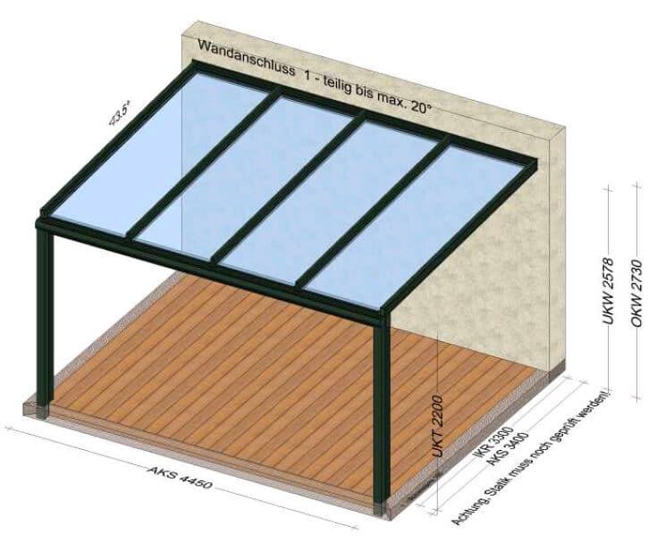 Planungsbeispiel Terrassenüberdachung 4x3m