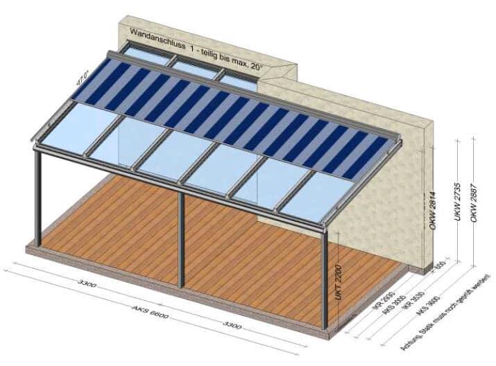 Planungsbeispiel Terrassenüberdachung 6-teilig mit Markise 6600 x 3000 mm