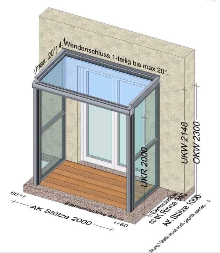 Planungsbeispiel Überdachung und Seitenteile für Eingangsbereich 2000 x 1000 mm