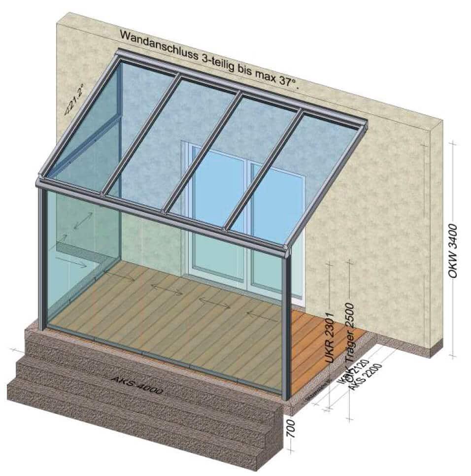 Planungsskizze Sommergarten mit 2 Seiten Schiebetüren geschlossen und Glasdach