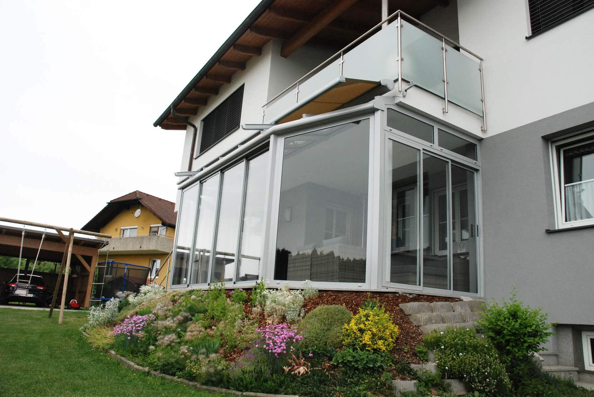 Pultdach-Wintergarten Isolierglas und Dachbeschattung