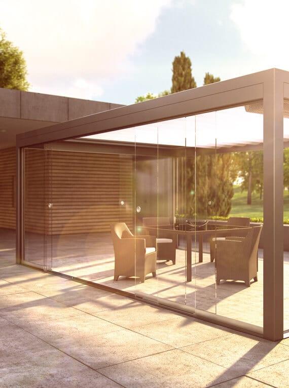 Rahmenlose Glasschiebe-System
