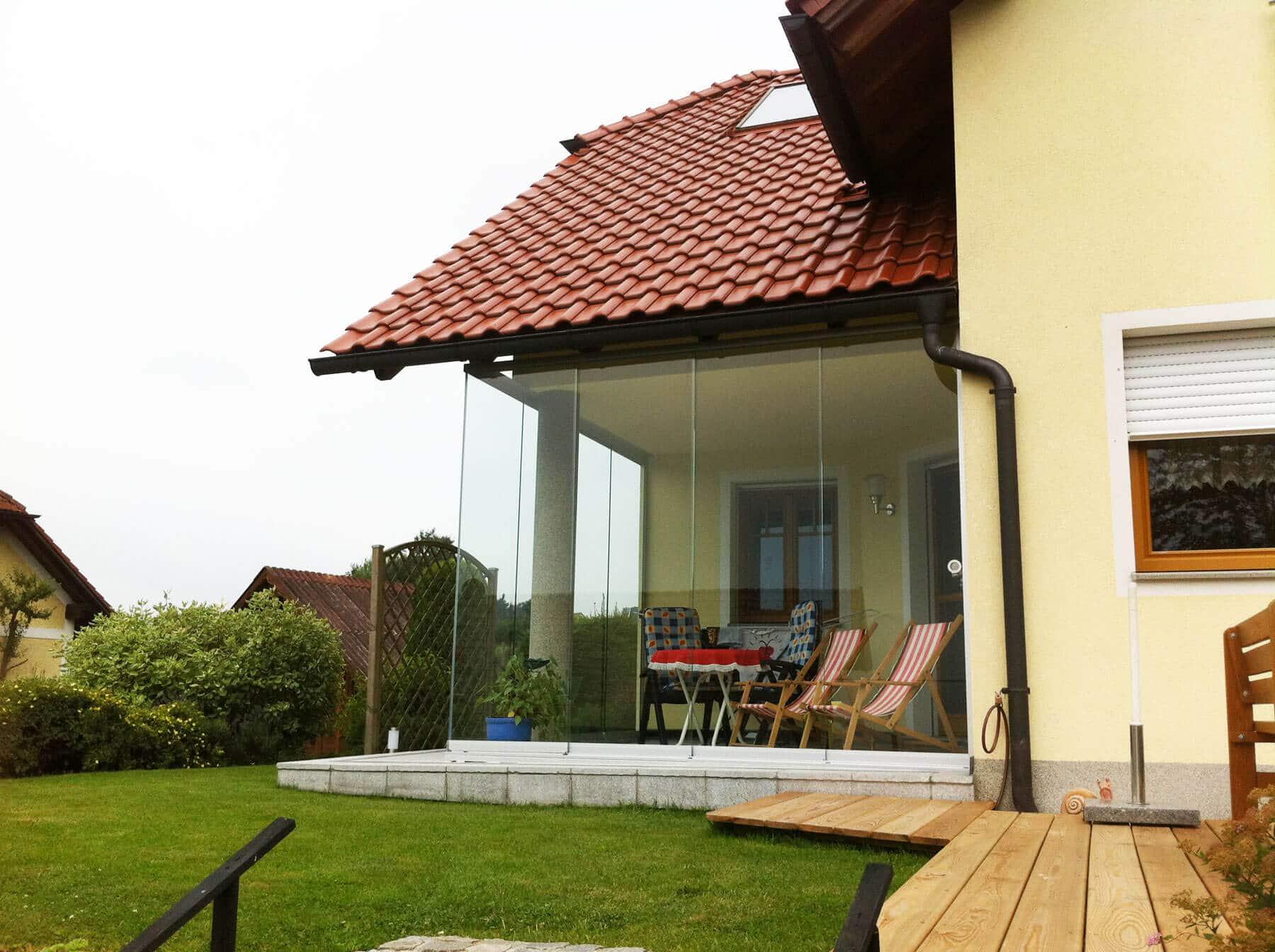 Rahmenlose Verglasung Terrasse